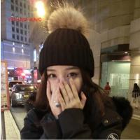 秋冬新款大大毛球毛线帽子女冬天加厚保暖潮韩国针织帽礼物可爱