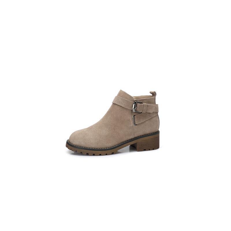 camel 骆驼女鞋  秋冬新款 时尚英伦皮带扣饰靴子 舒适方跟防滑短靴