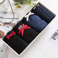 日系黑色蕾丝内裤女士中低腰 质面料蝴蝶结三角礼盒装