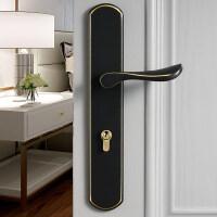 黑色静音门锁全铜现代简约门把手新中式金色室内卧室分体 35-45MM 左内 带钥匙
