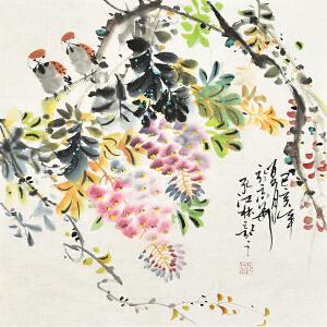 中国书画家协会会员 孔江林三尺斗方花鸟画gh04438