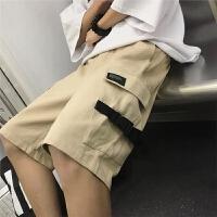 多口袋潮牌工装夏款运动裤复古纯色五分裤中裤宽松学生休闲短裤男