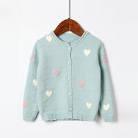 全织时代童装女童针织开衫百搭撞色爱心0-3岁女宝宝春秋外搭外套