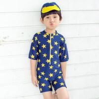 韩版新款宝宝可爱泳装泳帽套装 儿童泳衣 男孩分体泳裤 男童游泳衣