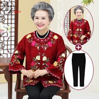 老年人秋装女60-70-80岁老太太民族风上衣妈妈春秋外套唐装奶奶装