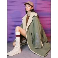 七格格仿羊羔毛女中长款2018新款韩版冬季加厚棉袄棉衣面包服