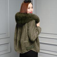 冬季毛呢皮毛一体外套女新款 大毛领短款羊羔毛羊剪绒加厚大衣