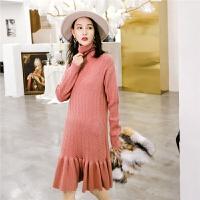 针织长袖连衣裙秋装女新款高领百褶修身时尚中长款鱼尾裙子冬