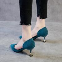 女士凉鞋2019新款尖头小清新高跟鞋猫跟细跟中跟5cm工作鞋女黑色夏季百搭鞋