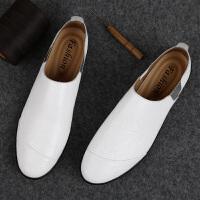 压花皮鞋男春季白色男士皮鞋软底休闲鞋潮流男鞋子青年潮小白鞋 37 标准皮鞋码
