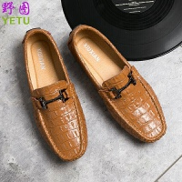 豆豆鞋男鳄鱼纹透气韩版休闲鞋英伦风潮流懒人鞋皮鞋