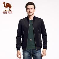 骆驼&熊猫联名系列男装 时尚韩版青年立领纯色外套休闲夹克衫潮男