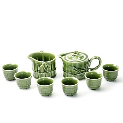 乾唐轩活瓷新竹节茶具套组1壶1海6杯礼盒功夫茶具茶壶茶杯茶海