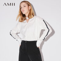 Amii极简慵懒风港味ulzzang设计感V领女2018秋装新款宽松长袖衬衫.