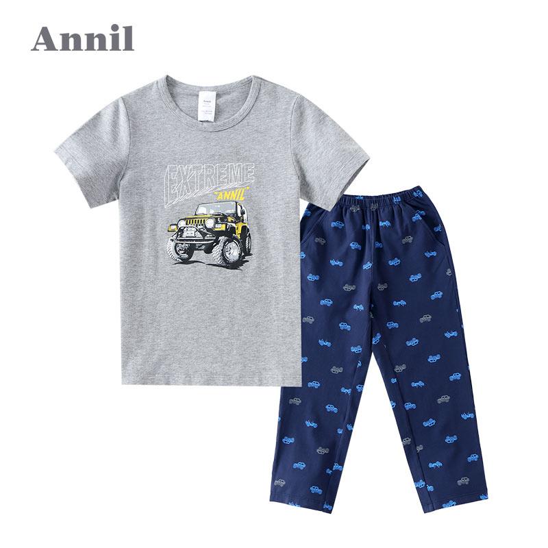 安奈儿童装男童短袖T恤+长裤套装 中大童家居服 EB727203安奈儿童装,不一样的舒适