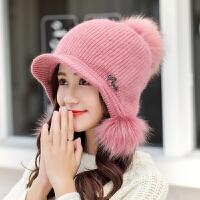 帽子女冬天毛线帽保暖针织帽冬季毛帽甜美可爱