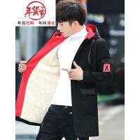 风衣男装中长款韩版修身潮流帅气加绒加厚男士外套秋冬季休闲夹克