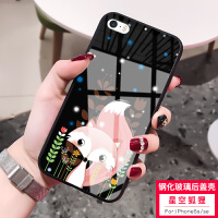 �O果5s手�C��i5s卡通可��iphone5硅�z玻璃�R面i5se男女款�O果5