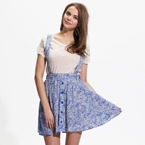 美特斯邦威女装佩斯利印花背带裙半裙258009