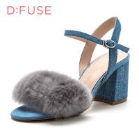 迪芙斯(D:FUSE) 专柜同款牛仔布牛剖层革粗跟优雅凉鞋DF72115256