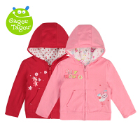 【加拿大童装】Gagou Tagou婴幼儿女宝宝纯棉双面可穿带帽前开拉链外套上衣卫衣