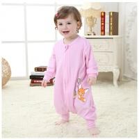 婴儿纯棉睡袋夏季分腿防踢被空调房儿童春秋薄款宝宝连体睡衣