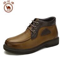 骆驼牌男鞋冬季新款头层牛皮保暖靴男士商务休闲短筒皮靴 耐磨