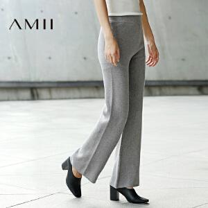 AMII[极简主义]冬新品针织松紧腰阔腿裤大码休闲长裤11674174