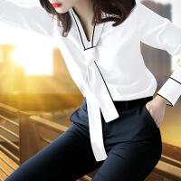 黑色衬衫女长袖加绒2018新款秋装韩范蝴蝶结上衣雪纺职业白衬衣寸