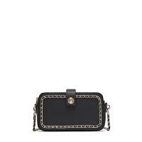 春夏新款女包链条包斜挎包小方包钱包时尚休闲潮包包 黑色 专柜