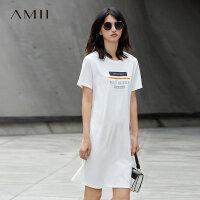 Amii[极简主义]2017夏装新品百搭印花直筒短袖纯棉连衣裙11741775
