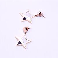 钛钢三色五角星星耳钉无耳洞透明耳夹耳饰假耳环女气质