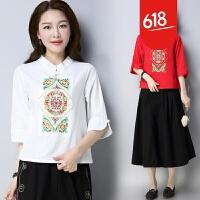 2018新款民族风女装刺绣上衣中国风复古中袖棉麻T恤GH11701