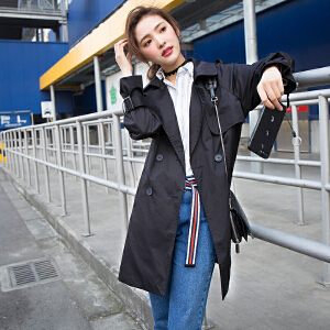 【2件3折价176.1元】唐狮春季情侣装青少年休闲中长款韩版潮流宽松风衣男女时尚外套