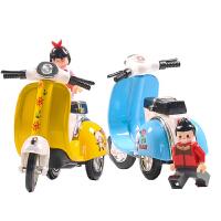 儿童玩具小汽车合金回力摩托车跑车模型可爱电瓶车小摩托车摆件