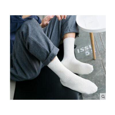 袜子百搭纯色大长袜棉袜全棉袜时代保暖男士袜子纯棉中筒吸汗防臭袜