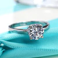 气质四爪镶嵌克拉戒指潮女结婚仿真钻戒食指指环首配饰品