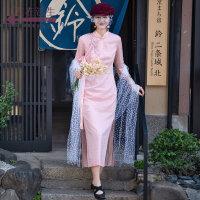 生活在左2019春款新品羊毛钩花中袖中国风改良旗袍连衣裙长款优雅