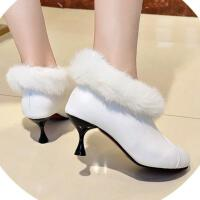 鞋子女新款圆头马丁靴细跟6厘米加绒保暖短靴一脚蹬防滑春秋女鞋 白色 34