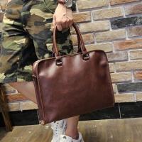 男士包包单肩包横款商务手提公文包休闲韩版斜挎背包 咖啡色