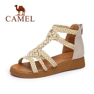Camel/骆驼女鞋 夏季新品时尚编织凉鞋女 波西米亚甜美平跟凉鞋