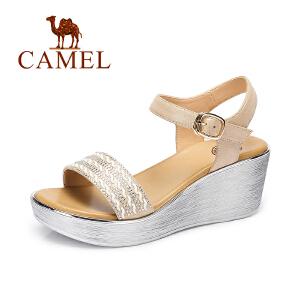 Camel/骆驼女鞋 夏季新款 时尚水钻坡跟凉鞋 防水台高跟凉鞋
