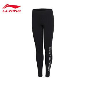 李宁运动裤女士新款训练系列紧身训练裤针织春季运动裤AULM142