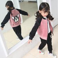 女童运动套装春秋装中大童洋气儿童时尚金丝绒两件套