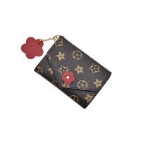 小花女士钱包短款2018新款欧美复古印花折叠钱包时尚多卡位零钱夹