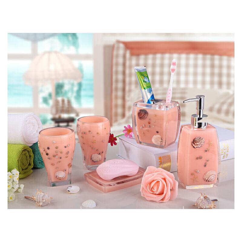 创意欧式卫浴五件套可爱漱口杯套装 情侣卫生间洗漱套装浴室用品 欧式设计