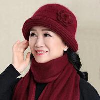 中老年人针织毛线帽秋冬天保暖老太太老人帽子女奶奶冬妈妈帽围巾