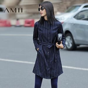 AMII[极简主义]2017年春新款条纹立领宽松长袖开衫连衣裙女11693358