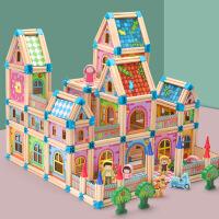 大手牵小手多彩儿童玩具建筑积木制立体拼图木质拼插模型拼装房屋 周岁生日圣诞节新年六一儿童节礼物