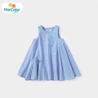 【1件2折】马卡乐童装22夏季新款女宝宝拼接时尚廓形不规则裙摆背心连衣裙
